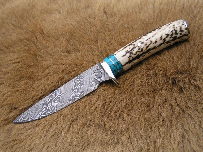ANTLER TURQUOISE DAMASCUS HUNTER $AUD460 + post -see www.jrpeckknives.com.au